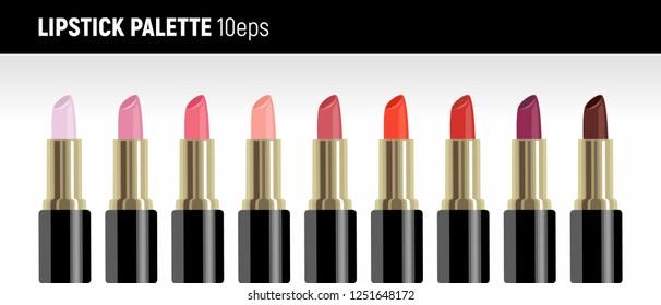 Lipstick red and pink color palette. Make up vector illustration.