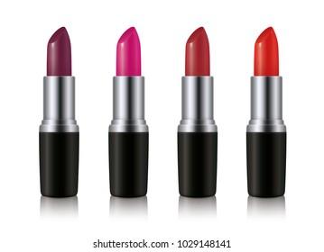Lipstick set. Fashionable colors. Realistic vector design.