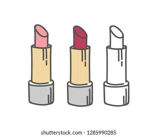 Lipstick tubes set, vector illustration collection of lip make up of different colors make-up cosmetic package isolated on white.