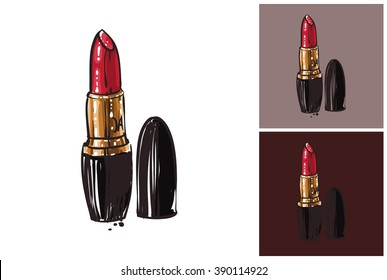 Lipstick vector fashion image. Label with glamour lipstick. Vogue beautiful lipstick. Isolated element on white, gray and dark background.