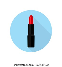 Lipstick. Vector illustration. Blue background. Flat style.