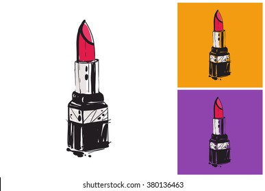Lipstick vector image. Vector lipstick logo. Label with lipstick.