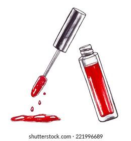 Lipstick. Watercolor Beauty  illustration.