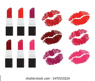 Lipsticks and Kisses Cute Vector Real Lip Mouth Pucker Shapes in Red and Pinks