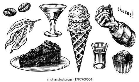 Liqueur dessert. Hand with a glass shot. Cheers toast. Ice cream and cake, glass with alcoholic drink. Engraved hand drawn vintage sketch. Woodcut style. Vector illustration for menu or poster.