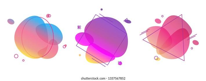 Liquid abstract color badges set. Bright, trendy, dynamic bubles.