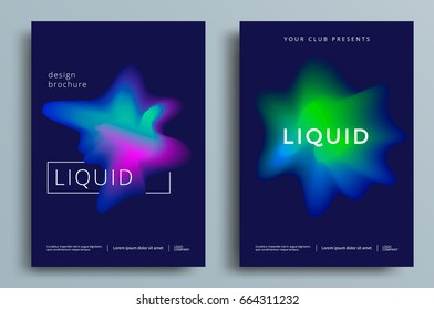 Liquid abstract colorful poster set. Futuristic gradient shapes design. Vector illustration