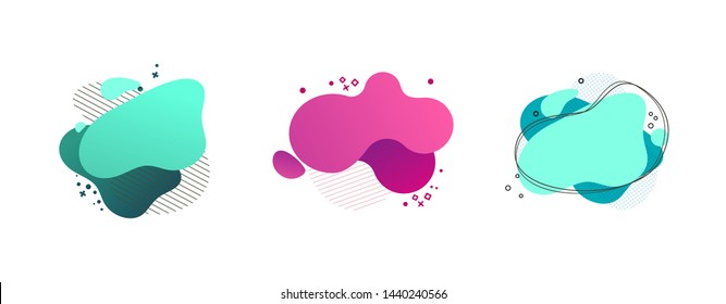 Liquid abstract geometric shape set. Cyan, green, pink blobs, hatched and dotted elements, wavy lines. Flowing splashes, fluid forms. Vector illustration for banner, poster, logo, flyer design
