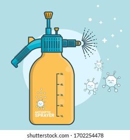 liquid antiseptic spray, Garden water Spray. vector illustration of sprayer. isolated vector design liquid bottle, antivirus spray. Water bottle with antiseptic.