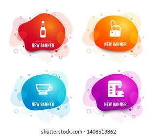 Liquid badges. Set of Americano, Tea bag and Beer icons. Coffee machine sign. Beverage cup, Brew hot drink, Pub alcohol. Cappuccino machine.  Gradient americano icon. Flyer fluid design. Vector