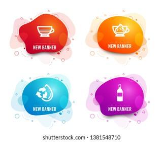 Liquid badges. Set of Mocha, Espresso cream and Recycle water icons. Wine bottle sign. Coffee cup, Cafe con panna, Refill aqua. Cabernet sauvignon.  Gradient mocha icon. Flyer fluid design. Vector
