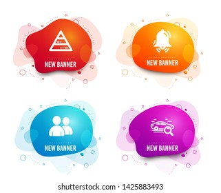 Liquid badges. Set of Pyramid chart, Clock bell and Users icons. Search car sign. Report analysis, Alarm, Couple of people. Find transport.  Gradient pyramid chart icon. Flyer fluid design. Vector