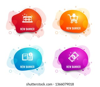 Liquid badges. Set of Shopping, Music making and Instruction info icons. Euro money sign. Add to cart, Dj app, Project. Cash.  Gradient shopping icon. Flyer fluid design. Abstract shapes. Vector
