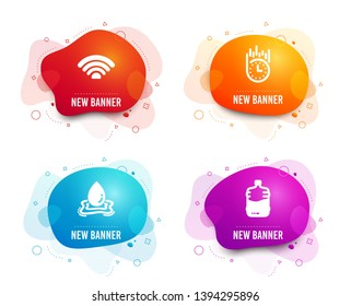Liquid badges. Set of Wifi, Fast delivery and Water splash icons. Cooler bottle sign. Wi-fi internet, Stopwatch, Aqua drop. Water drink.  Gradient wifi icon. Flyer fluid design. Abstract shapes