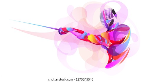 Liquid, Blob multi colour, athlete stylized fencing sport vector