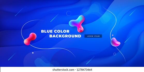 Liquid blue color background design. Fluid blue gradient shapes composition. Futuristic design posters. Eps10 vector.
