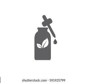 Liquid bottle vector icon. Medical drops vector bottle. Aroma vector icon. Essential oil vector.  Medical container icon. Eye drops icon.