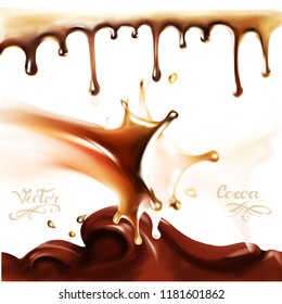 liquid chocolate, caramel or cocoa illustration texture  3d illustration vector