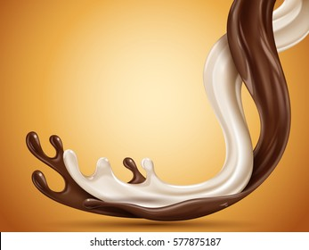 liquid chocolate and milk flow mixed, orange background, 3d illustration