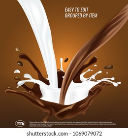 Liquid chocolate and milk flow and spash mixed, 3d vector illustration.