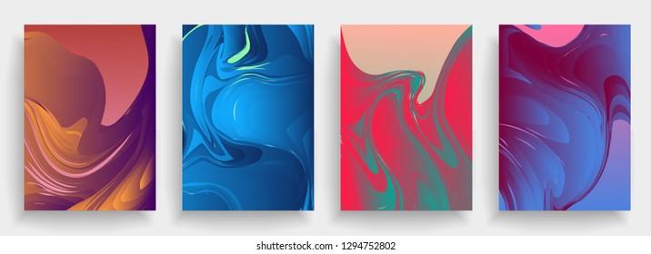 Liquid color background design. A4 format. Futuristic design posters