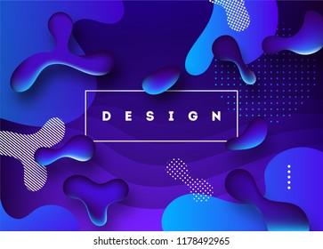 Liquid color background design. Fluid gradient shapes futuristic poster illustration. Eps10 vector.