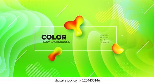 Liquid color background design. Green Fluid gradient shapes composition. Futuristic design posters. Eps10 vector.