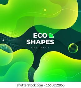 Liquid color background design. Green Eco Fluid gradient shapes composition. Futuristic design posters. Eps10 vector.