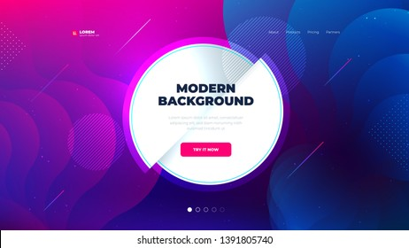 Liquid color background design for Landing page site. Fluid gradient circle shape composition. Futuristic design posters. Eps10 vector.