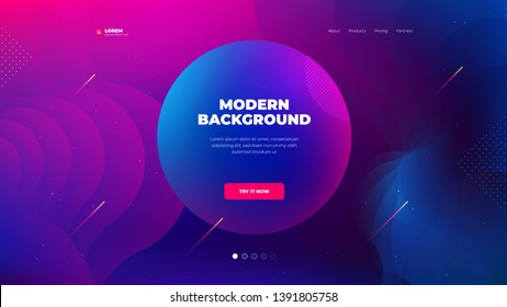Liquid color background design for Landing page site. Fluid gradient shapes composition. Futuristic design posters. Eps10 vector.