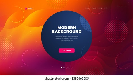 Liquid color background design for Landing page site. Fluid gradient dark circle shape composition. Futuristic design posters. Eps10 vector.