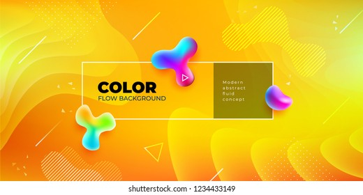 Liquid color background design. Yellow Fluid gradient shapes composition. Futuristic design posters. Eps10 vector.
