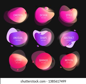 Liquid Color Background Gradient, colored forms and line. Abstract banners with flowing liquid shapes. Design for banner, card, brochure. Isolated waves. Vector illustration.