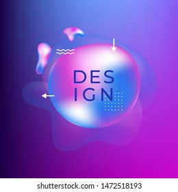 Liquid color cover. Fluid shapes composition. Futuristic design poster and badge. Dynamical colored forms and waves. Gradient abstract banner with flowing shapes