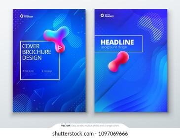 Liquid color cover set. Fluid shapes composition. Brochure design. Corporate business template for brochure, report, catalog, magazine, book, booklet. Futuristic design posters. Eps10 vector.