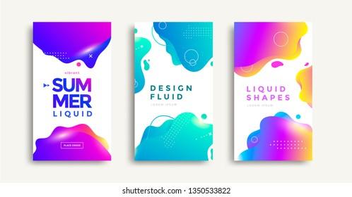 Liquid color covers set. Fluid gradients banner design. Modern design posters. Vector illustration