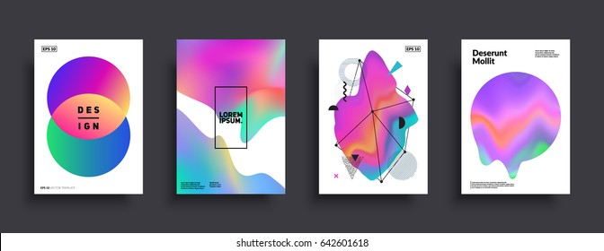 Liquid color covers set. Fluid shapes composition. Futuristic design posters. Eps10 vector.