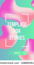 Liquid color covers template for promotion product page in stories, account or personality in the social networks. Fluid shapes composition. Futuristic design template. Eps10 vector. Swipe up button.
