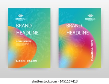 Liquid colorful green, blue, purple, orange geometric, geometry design for annual report, brochure, flyer, poster. Lines flower background vector illustration for flyer. Business abstract A4 template.