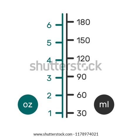 Liquid Conversion Scale Chart Us Ounces Stock Vektorgrafik
