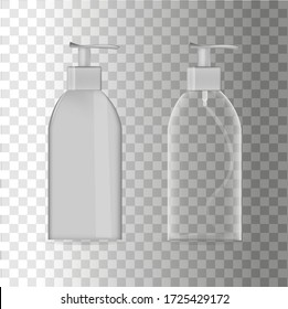 Liquid dispenser. An empty form for your logo. Plastic bottle. Isolated vector.