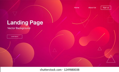 Liquid dynamic background for business presentation, landing pages or posters. Trendy gradient wavy shapes. Abstract geometric wallpaper. Vector illustration.