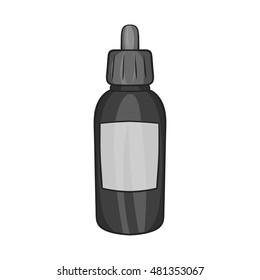 Liquid for electronic cigarettes icon in black monochrome style isolated on white background. Smoking symbol vector illustration