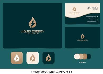 liquid energy gold logo design and business card