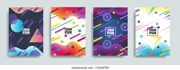 Liquid, flow, fluid background set. Fluid colors shapes. Colorful geometric shapes in motion. Chaotic geometry backgrounds set. Applicable for covers, placards, posters, flyers and banner designs.