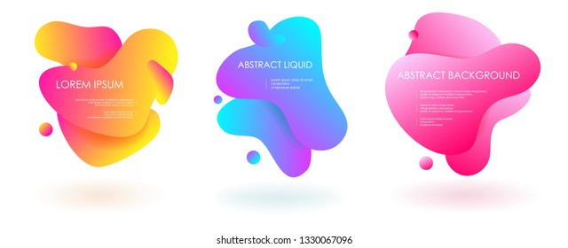 Liquid fluid 3 abstract vector banners. 3D style with shadows design. Vector liquid template design backround illustration. Can be used for banners flyers or web. EPS 10.