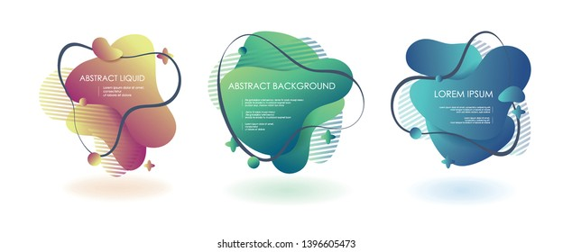 Liquid fluid 3 abstract vector banners. 3D style with shadows design. Vector liquid template design backround illustration. Can be used for banners flyers or web. EPS 10. - Vector