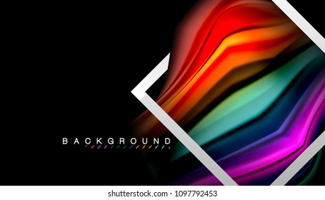 Liquid fluid colors holographic design with metallic style line shape. Vector artistic illustration for presentation, app wallpaper, banner or poster