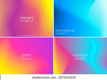 Liquid fluid design of colourful abstract vector blend background for graphic template. Set
