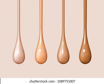 Liquid foundation drops isolated on background. Streams of drops flow. Creamy texture of droplets. Design elements of advertising of cosmetics. Vector realistic 3d illustration.